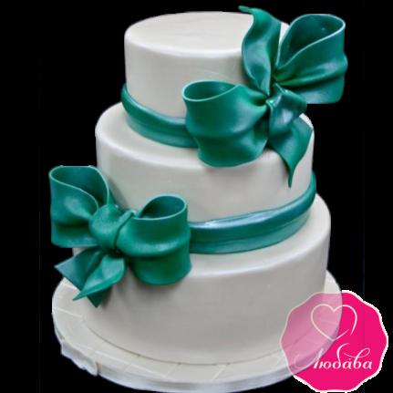 Торт свадебный изумрудный с бантами №1879