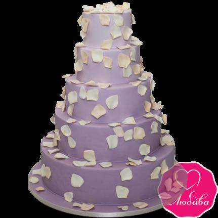 Торт свадебный сиреневый с лепестками №1880