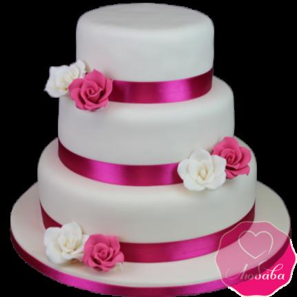 Торт свадебный фуксия с розами №1881