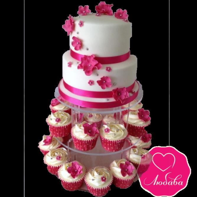Торт свадебный фуксия с капкейками №1882