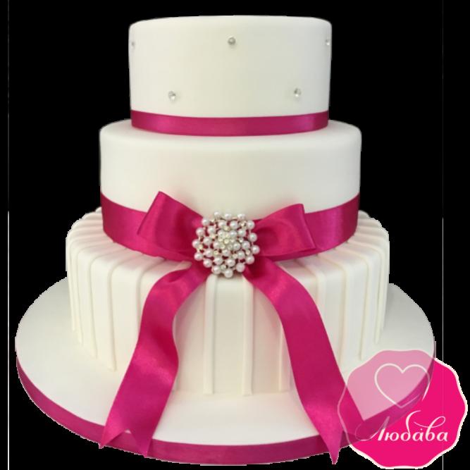 Торт свадебный фуксия с бантом №1883