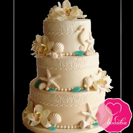 Торт свадебный в Карибском стиле №1886
