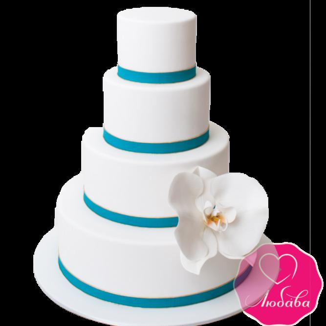 Торт свадебный с орхидеей №1890