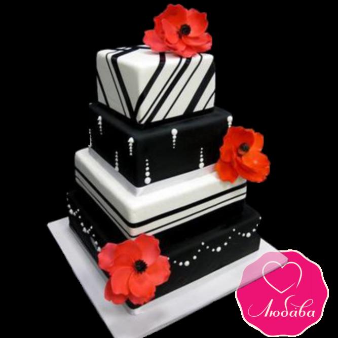 Торт свадебный черно-белый с маками №1891