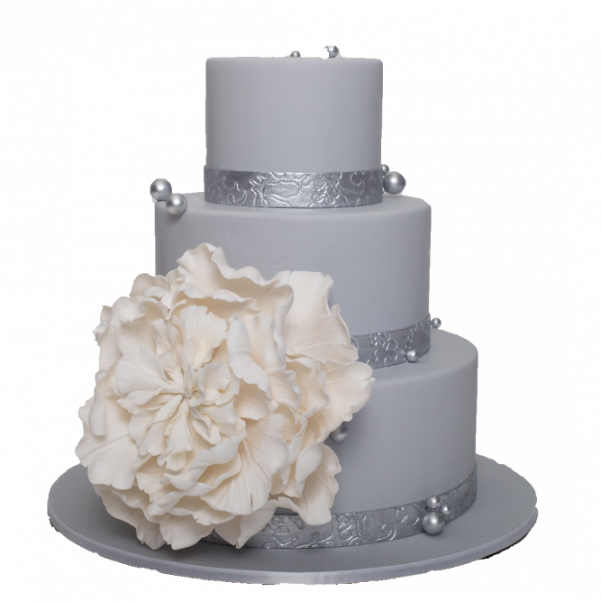 Торт свадебный серый с цветком №1893