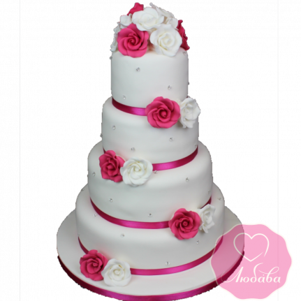 Торт свадебный с белыми и краснами розами №1894