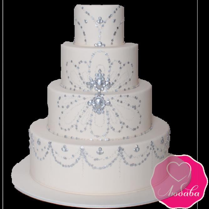 Торт свадебный белый с узорами №1896