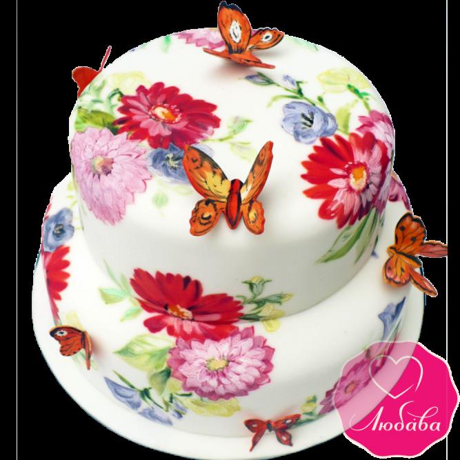 Торт свадебный с цветами и бабочками №1898