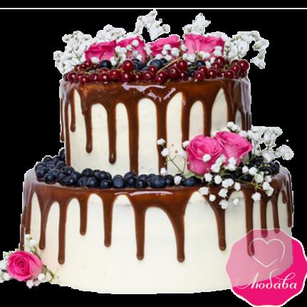 Торт свадебный с ягодами и розами №1899
