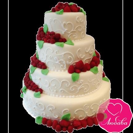 Торт свадебный с клубникой №1902