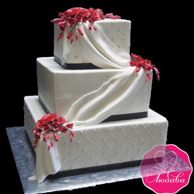 Торт свадебный с вуалью и розами №1903