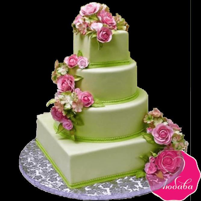 Торт свадебный с розами №1904