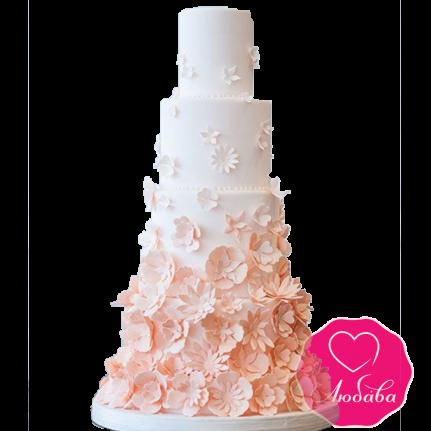 Торт свадебный с полевыми цветами №1906