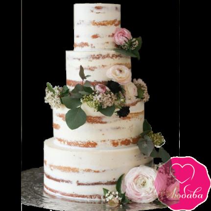 Торт свадебный открытый с живыми цветами №1907