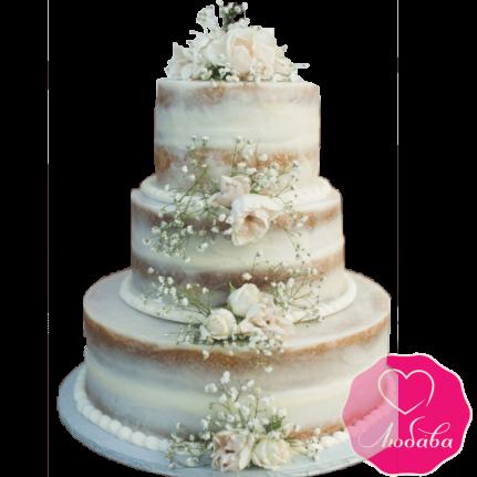 Торт свадебный открытый с розами №1908