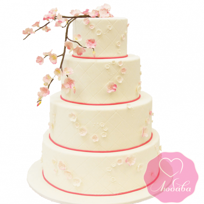 Торт свадебный с веткой сакуры №1909
