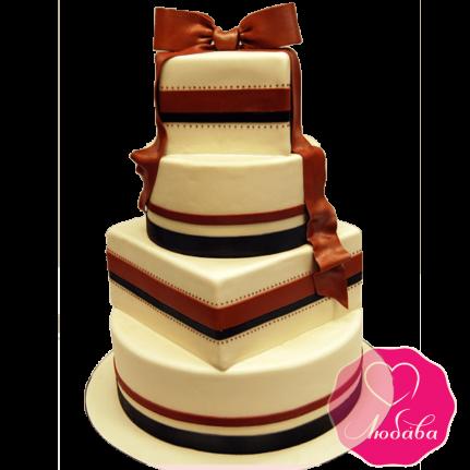 Торт свадебный с бантом №1910
