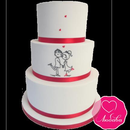 Торт свадебный с рисунком №1913