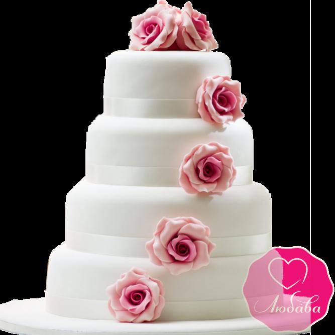 Торт свадебный белый с розами №1914