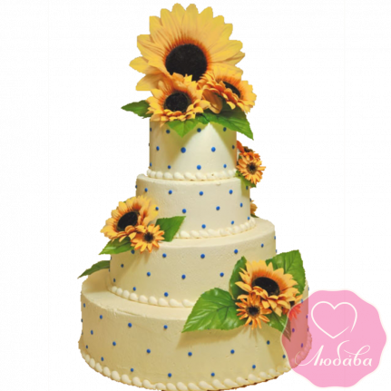 Торт свадебный с подсолнухами №1916