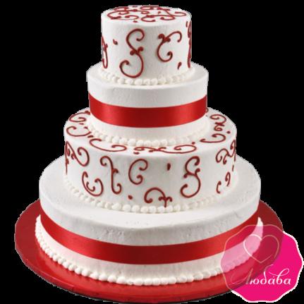 Торт свадебный с красными узорами №1917