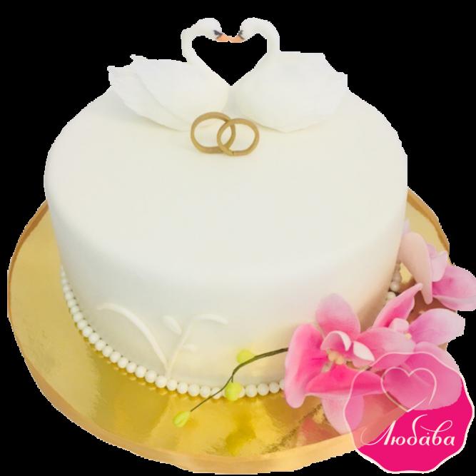 Торт свадебный одноярусный с лебедями №1918