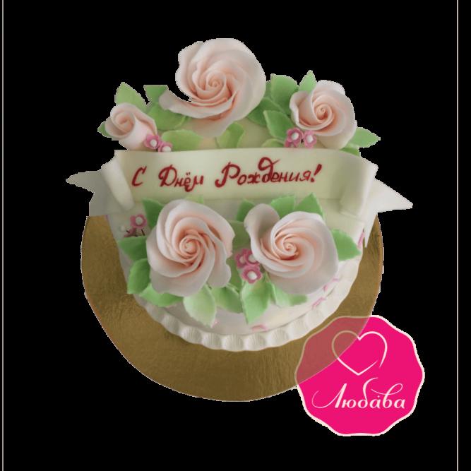 Торт на день рождения с розами №1919