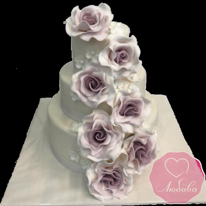 Торт свадебный с крупными розами №1920