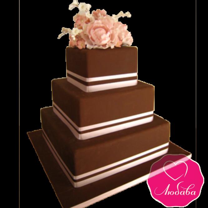 Торт свадебный коричневый с маками №1921