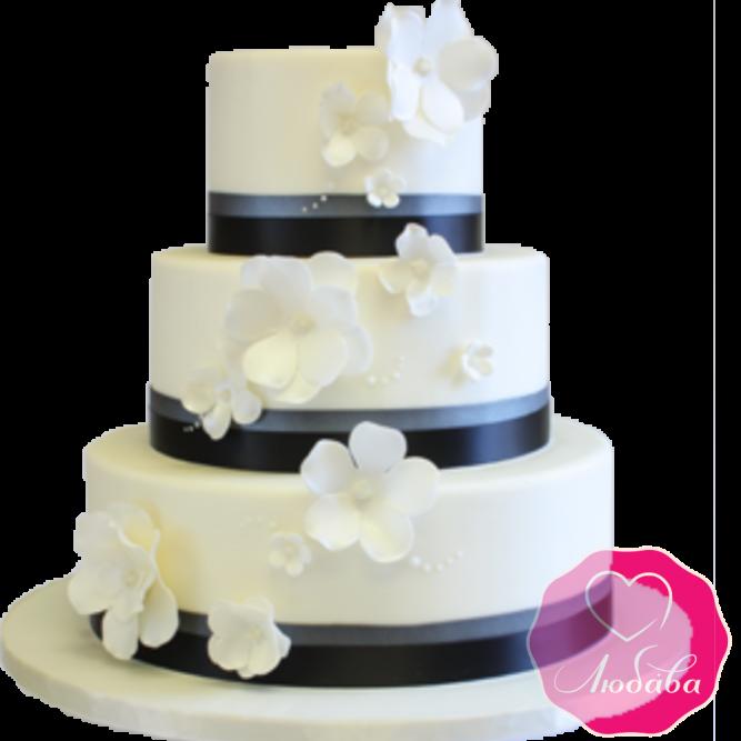 Торт свадебный с белыми цветами №1922