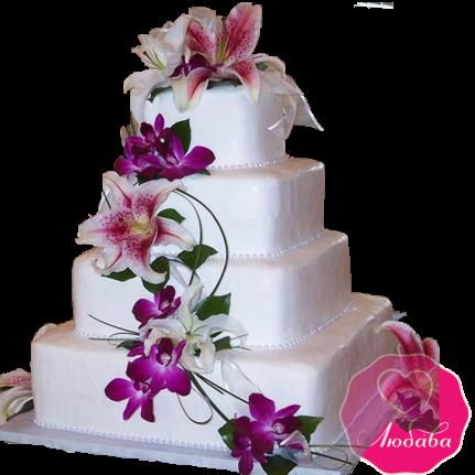 Торт свадебный с лилиями №1923