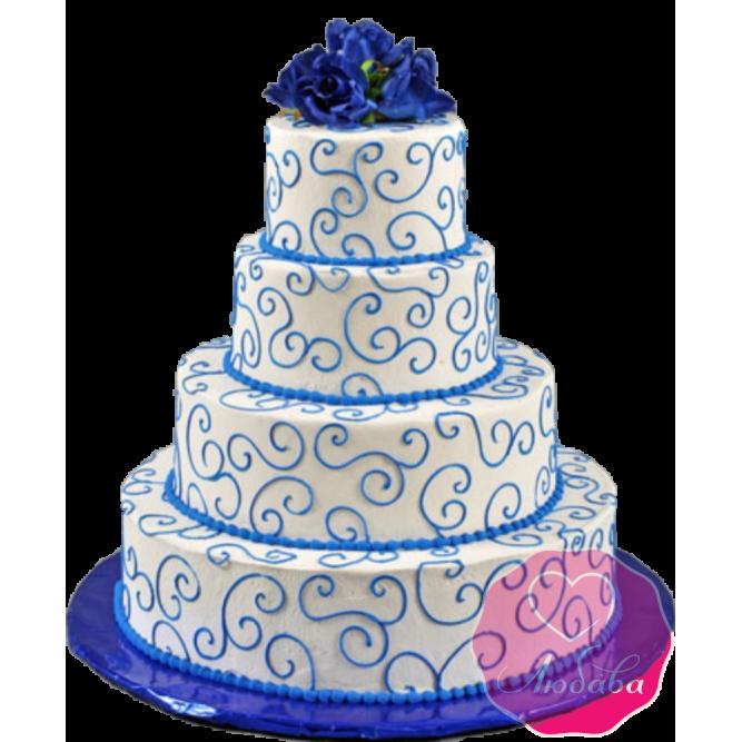Торт свадебный с узорами и цветами №1924