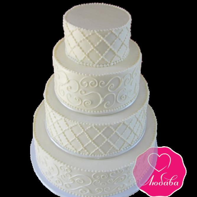 Торт свадебный белый №1926