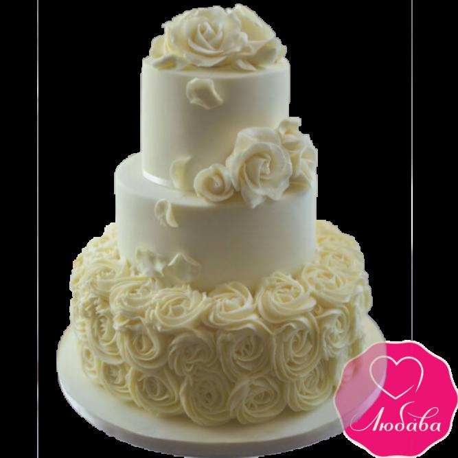 Торт свадебный с белыми розами №1928