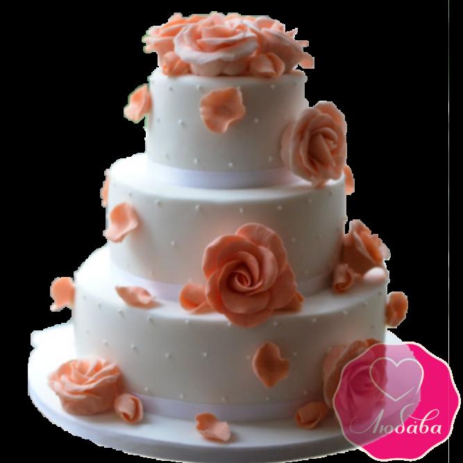 Торт свадебный с розовыми розами №1929