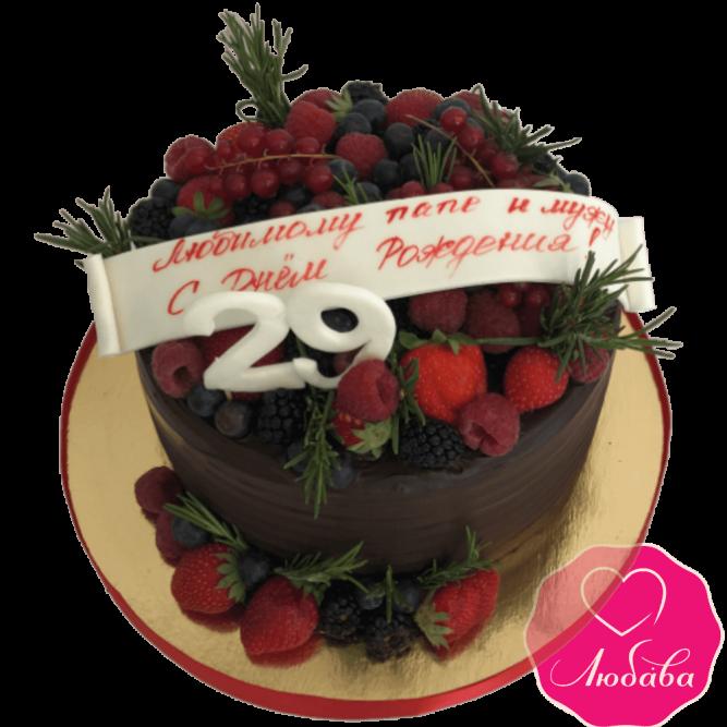 Торт на день рождения ягодно шоколадный №1938