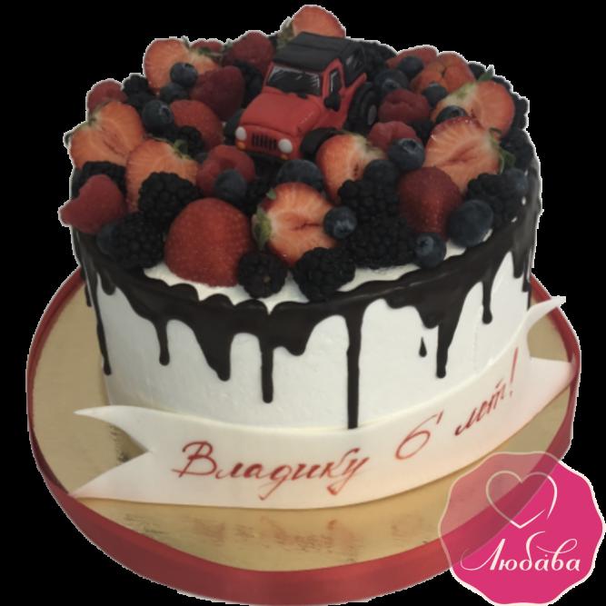 Торт на день рождения ягодный с автомобилем №1943