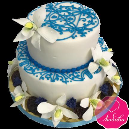 Торт свадебный с орхидеями и узором №1947
