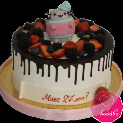 Торт на день рождения ягодный Pusheen cat №1948