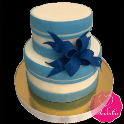 Торт свадебный голубой с бантом №1964