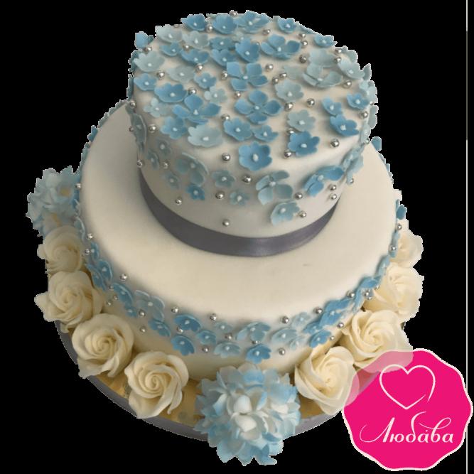 Торт свадебный с розами и гортензиями №1965
