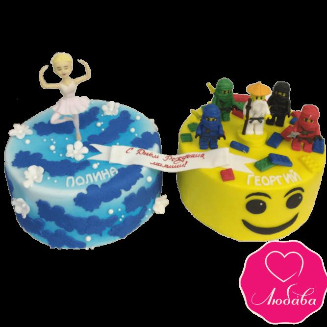 Торт для двойняшек (мальчик и девочка) №1978