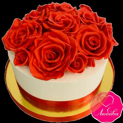 Торт праздничный с красными розами №1985