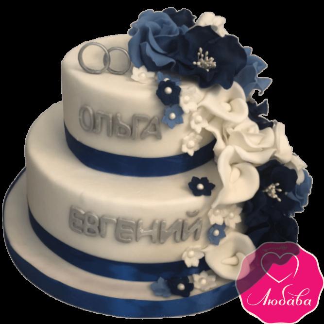 Торт свадебный с цветами №1989