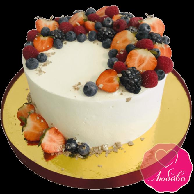Торт праздничный с ягодами без мастики №1993