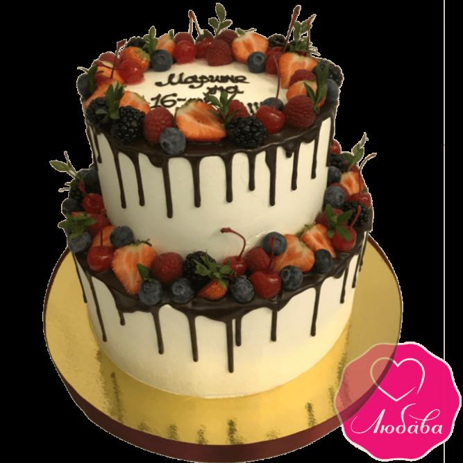 Торт без мастики с ягодами №1995