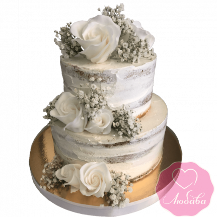 Торт свадебный без мастики с розами №1997