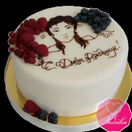 Торт на день рождения с рисунком №2001