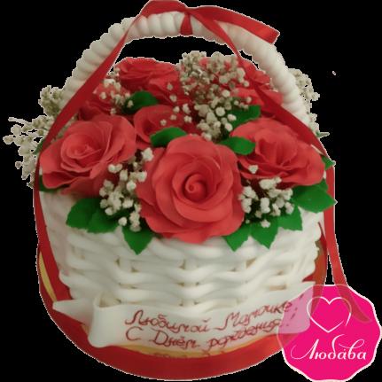Торт на день рождения корзина с розами №2002