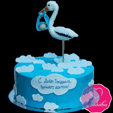 Торт с аистом для мальчика №2006